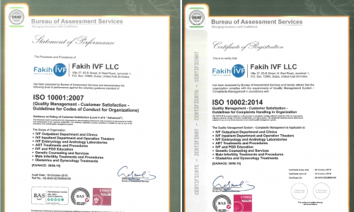 Fakih IVF Dubai awarded ISO Quality Management System Certificates and ISO Corporate Social Responsibility
