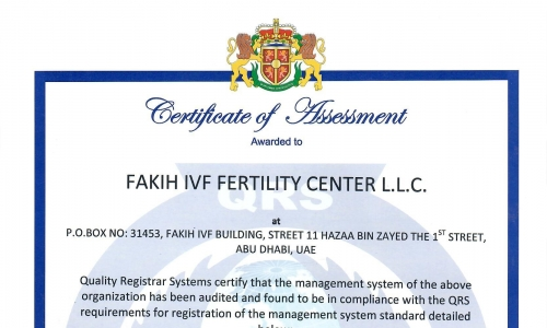 Fakih IVF Abu Dhabi awarded ISO 9001-2015 Quality Management System Certificate